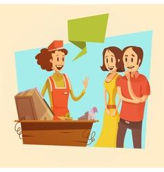Saleswoman And Customers Retro vector image