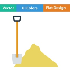 Flat design icon of construction shovel and sand vector