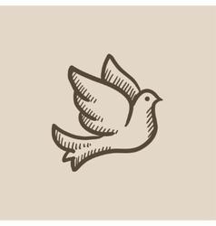 Wedding dove sketch icon vector