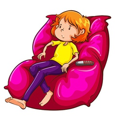 A sketch of a lazy girl at the couch vector image vector image