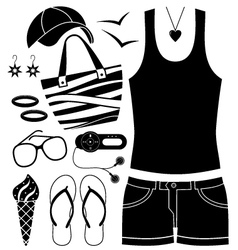 Black fashion set vector image vector image
