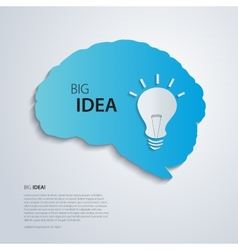 Blue brain with bulb idea concept vector