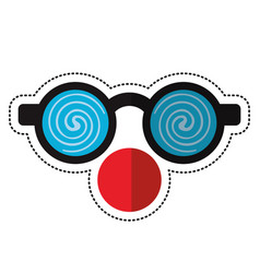 Cartoon clown glasses and red nose vector