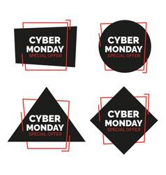 cyber monday banners set sale concept vector image