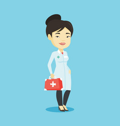 doctor holding first aid box vector image vector image