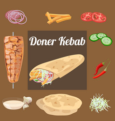 doner kebab wraped vector image