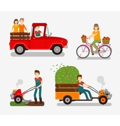 Farm icons set cartoon characters such as farmer vector