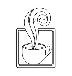 figure squard symbol of coffee cup vector image vector image