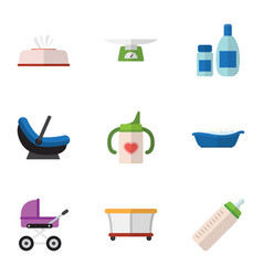 Flat icon infant set of bathtub tissue stroller vector