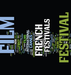 french film festivals text background word cloud vector image vector image