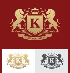 Golden crest design with rampant lions vector