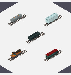 Isometric railway set of train railroad carriage vector