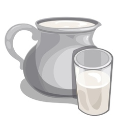 Jug of milk and filled glass drink isolated vector
