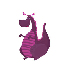 little purple dragon cartoon character mythical vector image