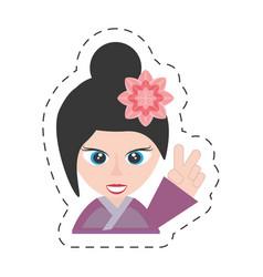 Portrait cute girl chinese kimono sakura flower vector