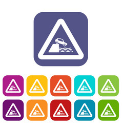 riverbank traffic sign icons set vector image vector image