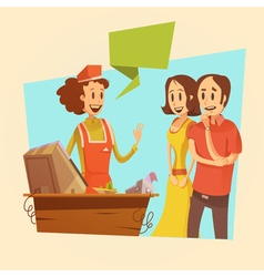 Saleswoman and customers retro vector