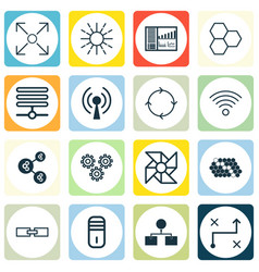 set of 16 machine learning icons includes hive vector image vector image