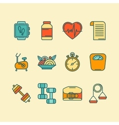 Set of color line icons for personal vector