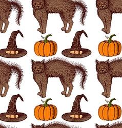 Sketch Halloween pattern vector image