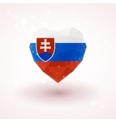 Slovak flag in shape diamond glass heart vector