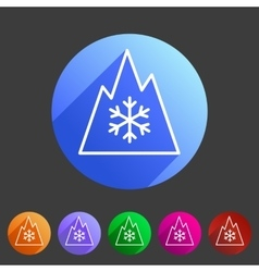 Snow tire mountain snowflake mud symbol icon flat vector
