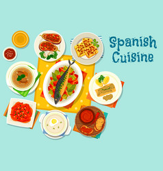 Spanish cuisine healthy lunch icon design vector