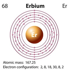 Symbol and electron diagram for Erbium vector image