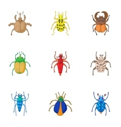 Types of bugs icons set cartoon style vector image vector image