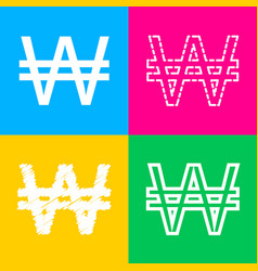 won sign four styles of icon on four color vector image