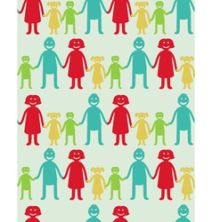 Seamless pattern with kids and parents vector