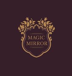 Set creative emblem of the magic mirror with flora vector image