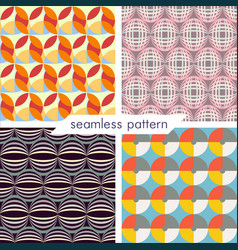Set of four seamless geometrical patterns 13 vector