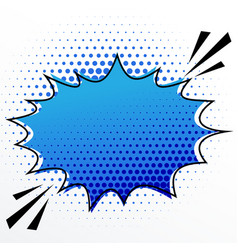 Blank comic speech burst bubble with halftone vector