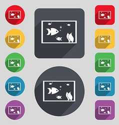 Aquarium fish in water icon sign a set of 12 vector