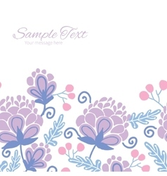 Soft purple flowers horizontal frame vector