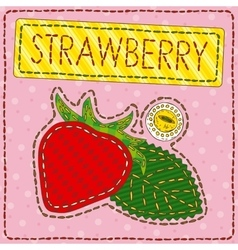Funny patchwork with sweet strawberry vector