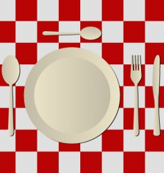 cutlery and tablecloth vector image