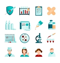 Vaccination flat icons set vector