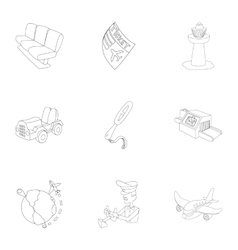 Arrive at airport icons set outline style vector
