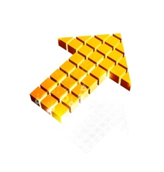 Arrow icon made of orange cubes vector image vector image