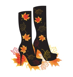 Autumn boots with maple leaves vector image vector image