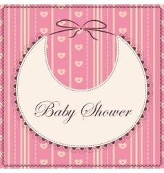 Baby shower with bib pink sprited vector