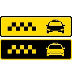 Black and yellow taxi icons vector