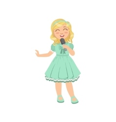 Blond girl singing in karaoke vector