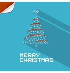 Blue Merry Christmas Background With Paper Tree vector image vector image