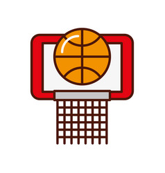 Brightly basket ball in the hoop cartoon vector