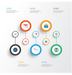 business flat icons set collection of developer vector image