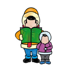 Cartoon man and son choir singing for christmas vector