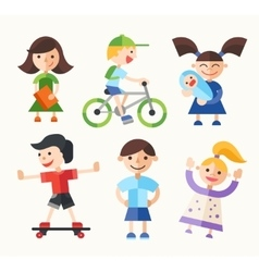 Children - flat design characters set vector image
